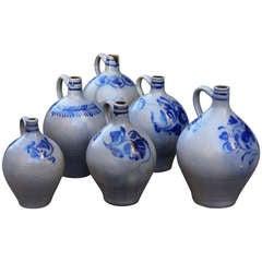 Collection of Six Salt Glazed Stoneware Jugs