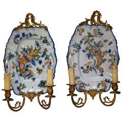 Large Porcelain Double Light Sconces