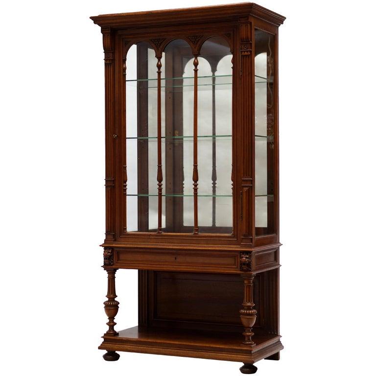 Late 19th Century Walnut Renaissance Revival Showcase or Vitrine For Sale