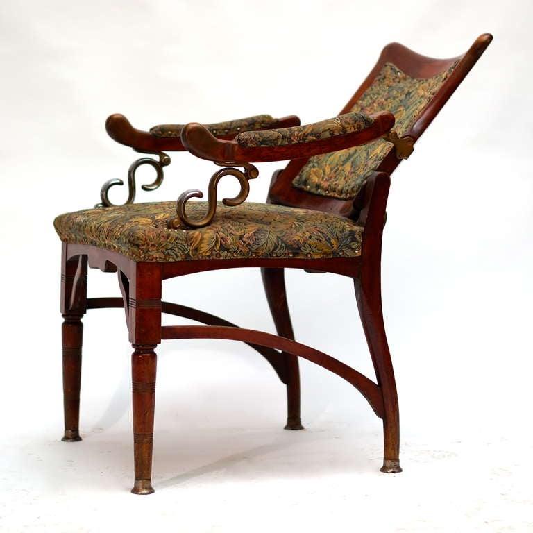 Wood Italian Art Nouveau Barber Chair For Sale