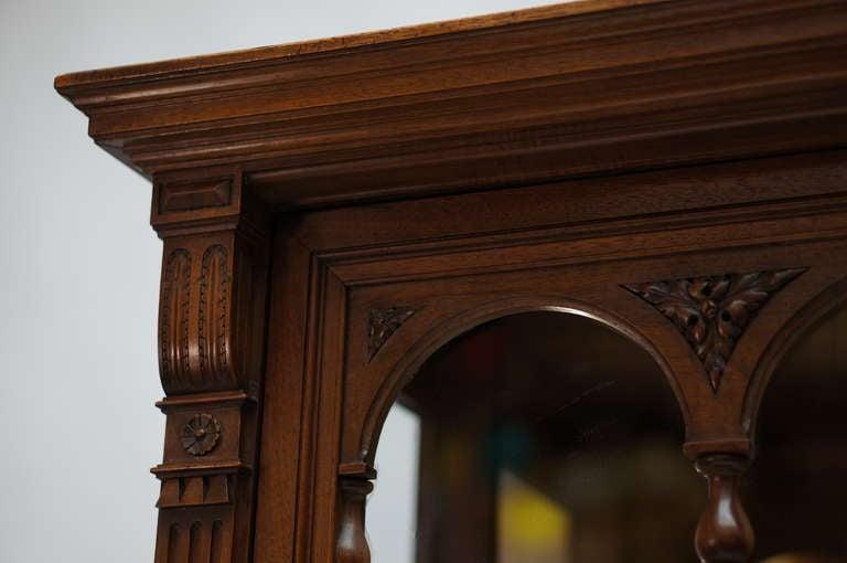 Glass Late 19th Century Walnut Renaissance Revival Showcase or Vitrine For Sale