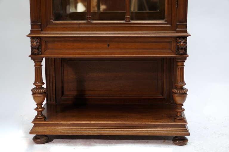 Late 19th Century Walnut Renaissance Revival Showcase or Vitrine For Sale 2