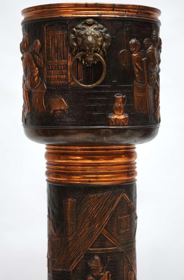 Renaissance Revival Red Copper Planter on Column For Sale