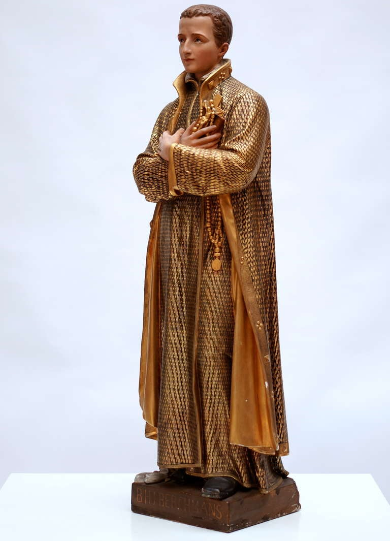 Saint John Berchmans lived from 1599 till 1621 and was canonised in 1888 by pope Leo XIII. He is specially worshipped in Flanders where he was born and lived. Measures: Height 100 cm. Signed with an illegible signature.