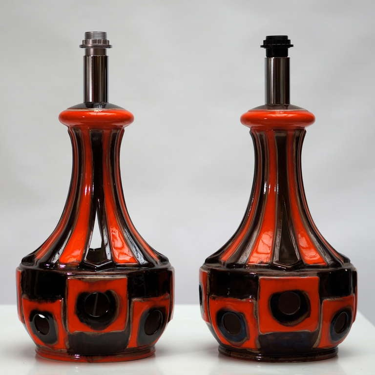 A pair of ceramic 1970s table or floor lamps.