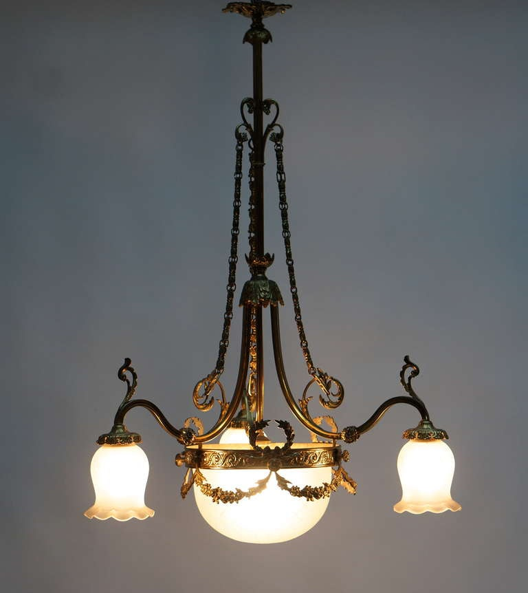 Gilt Italian Art Nouveau Brass and Glass Chandelier For Sale