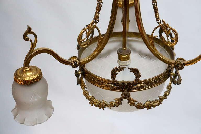 Italian Art Nouveau Brass and Glass Chandelier For Sale 2