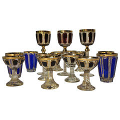 Fine and Rare Collection of Late 19th Century Moser Cut Crystal Glasses
