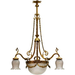 Italian Art Nouveau Brass and Glass Chandelier