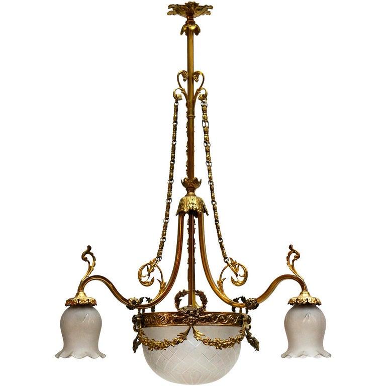 Italian Art Nouveau Brass and Glass Chandelier For Sale