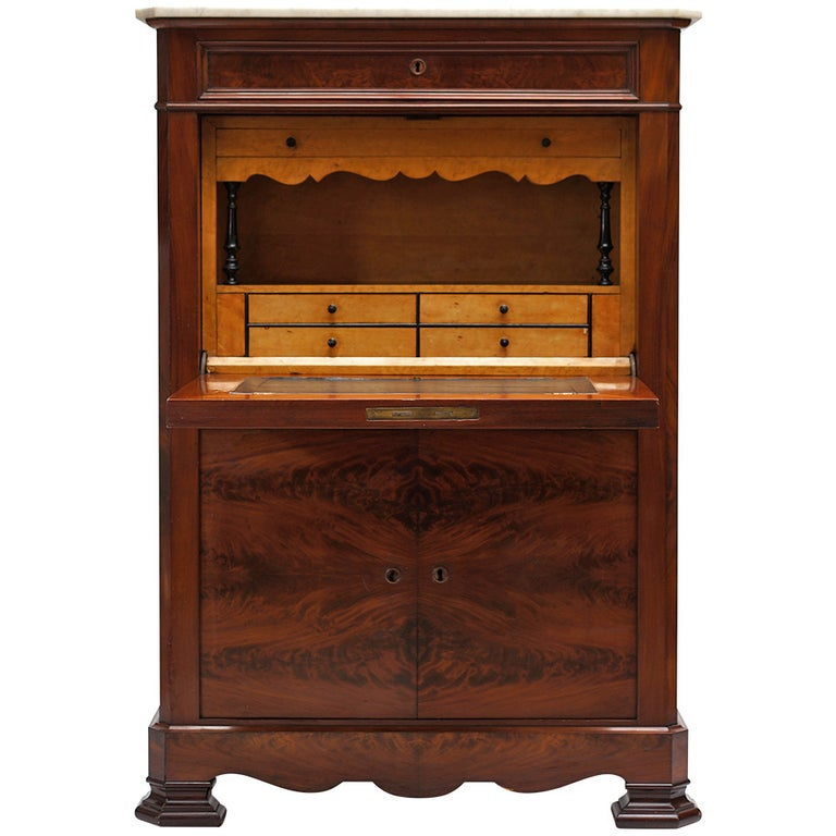 Fine Louis Philippe Mahogany Fall Front Desk/Secretary with Marble Top, 1840 For Sale