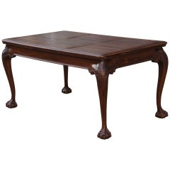 Oak Chippendale Style Extending Dining Room Table