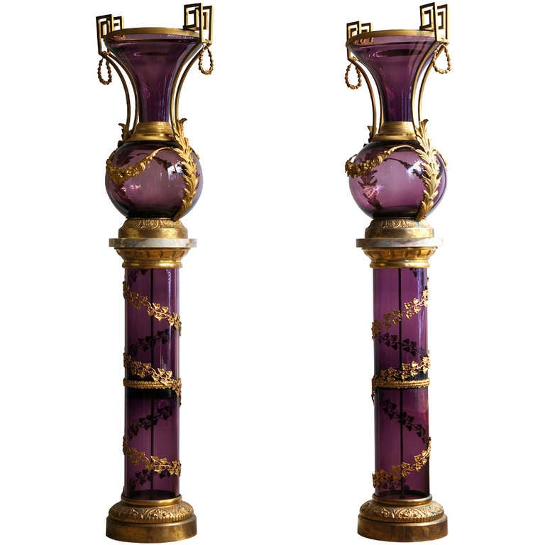 A Magnificent Pair Of Ormolu Mounted Amethyst Crystal