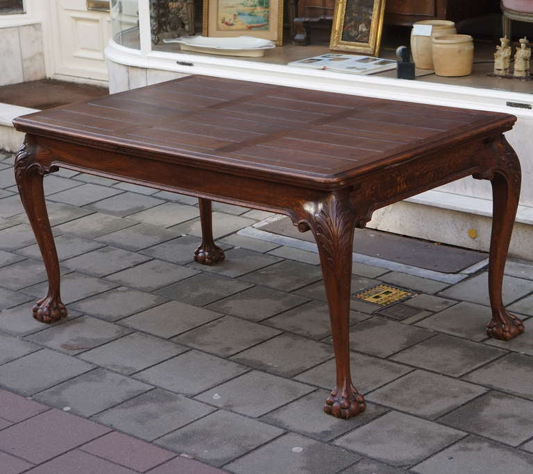 Italian Oak Chippendale Style Extending Dining Room Table For Sale