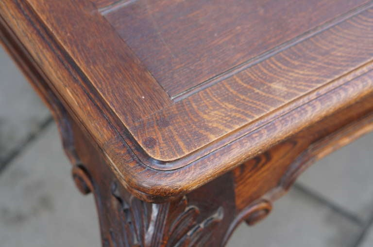 Oak Chippendale Style Extending Dining Room Table For Sale 2