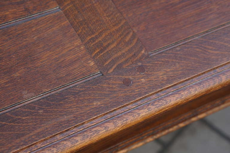 Oak Chippendale Style Extending Dining Room Table For Sale 3