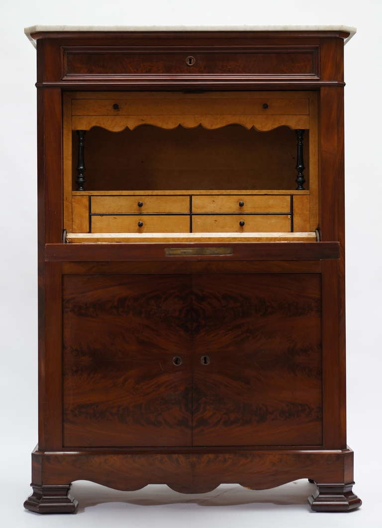 19th Century Fine Louis Philippe Mahogany Fall Front Desk/Secretary with Marble Top, 1840 For Sale