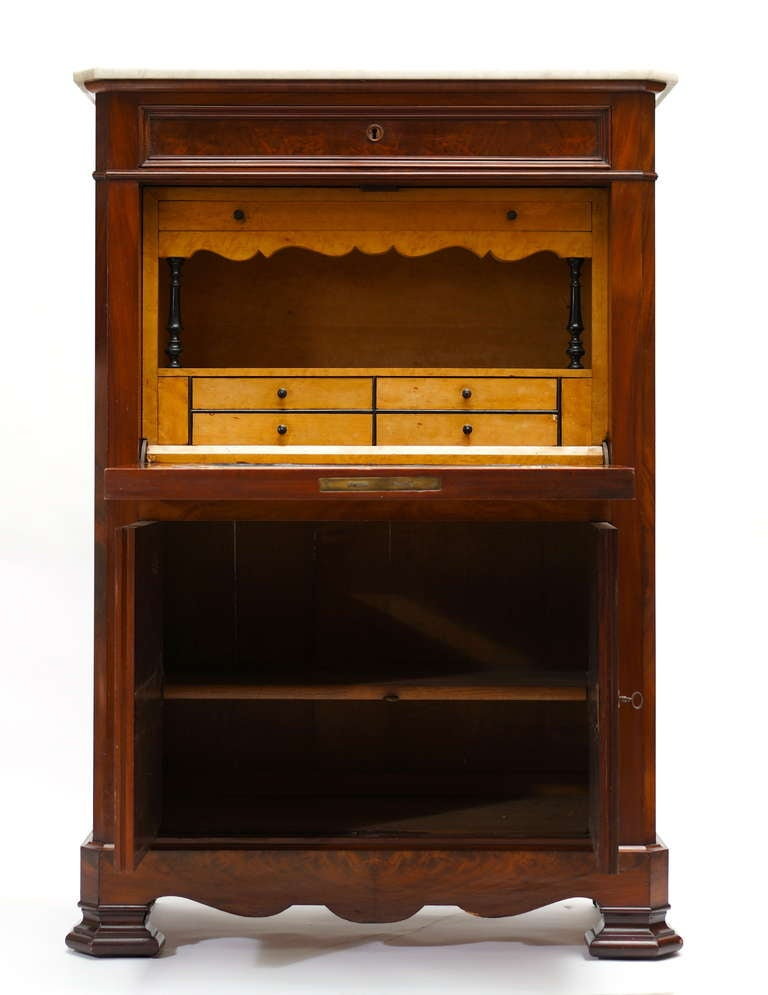 Fine Louis Philippe Mahogany Fall Front Desk/Secretary with Marble Top, 1840 For Sale 1