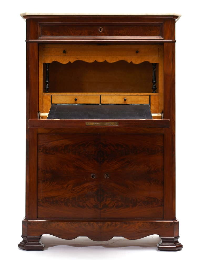 Leather Fine Louis Philippe Mahogany Fall Front Desk/Secretary with Marble Top, 1840 For Sale
