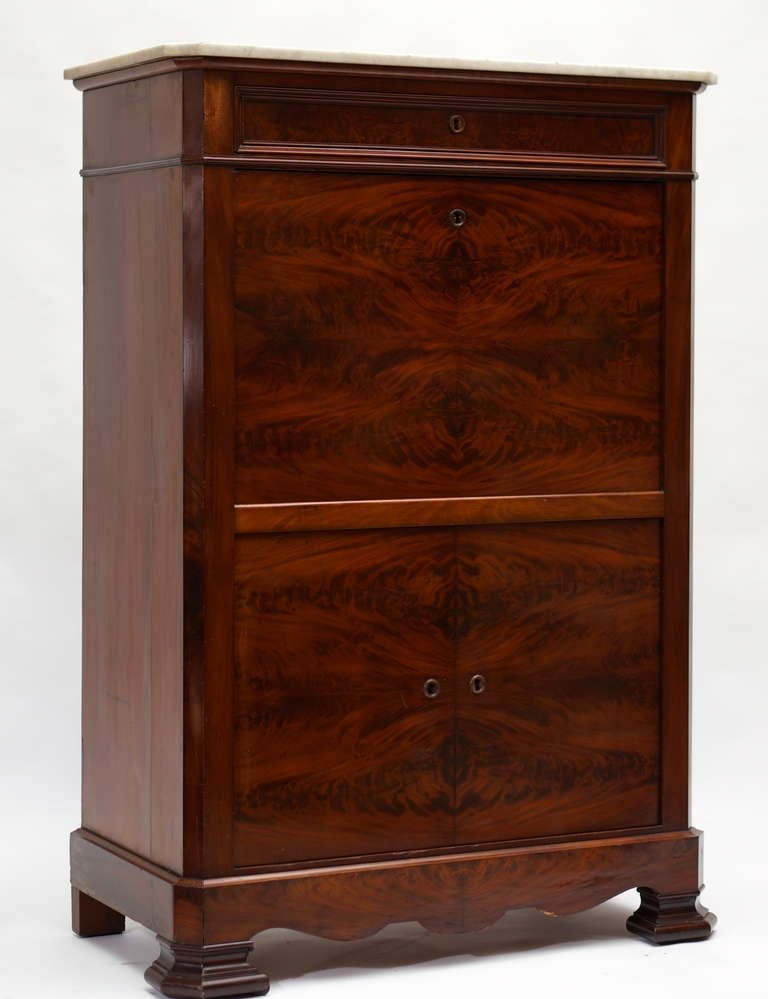 French Fine Louis Philippe Mahogany Fall Front Desk/Secretary with Marble Top, 1840 For Sale