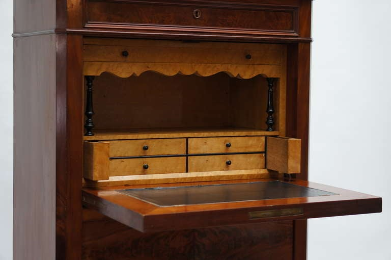 Fine Louis Philippe Mahogany Fall Front Desk/Secretary with Marble Top, 1840 For Sale 3