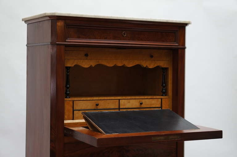 Fine Louis Philippe Mahogany Fall Front Desk/Secretary with Marble Top, 1840 For Sale 2
