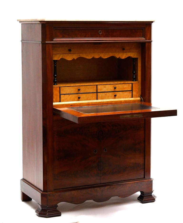 Fine Louis Philippe Mahogany Fall Front Desk/Secretary with Marble Top, 1840 In Good Condition For Sale In Antwerp, BE