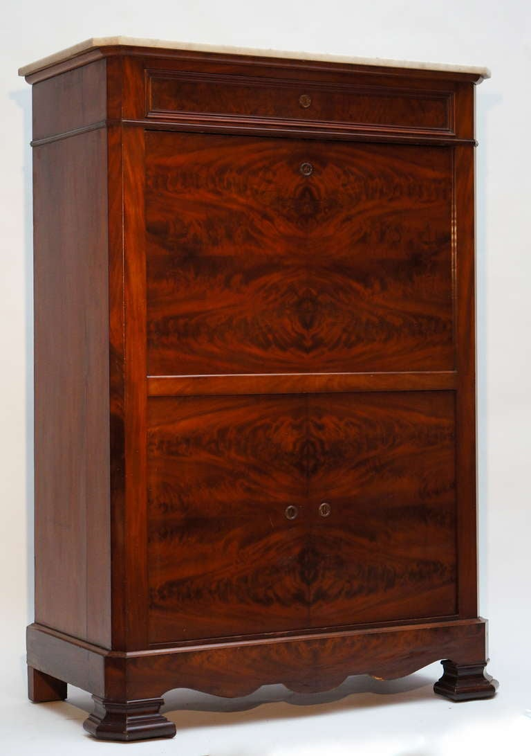 Fine Louis Philippe Mahogany Fall Front Desk/Secretary with Marble Top, 1840 For Sale 4