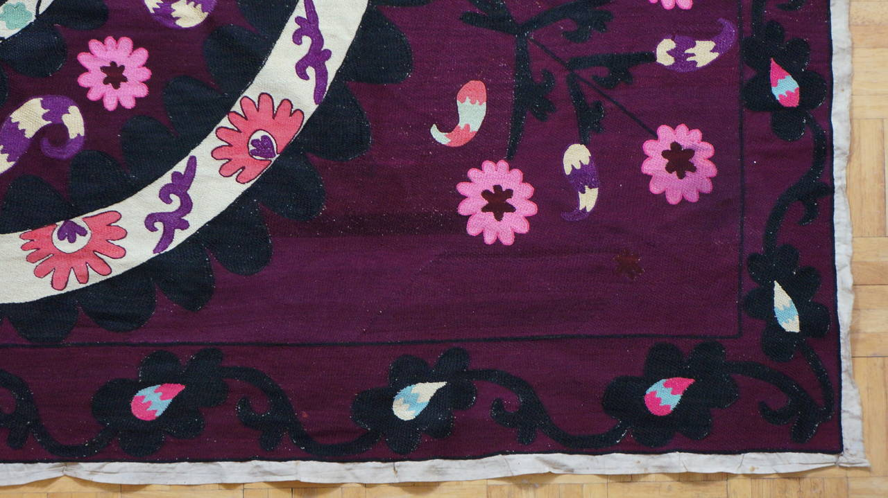 Uzbek Vintage Central Asian Suzani, Embroidered Wall Hanging For Sale