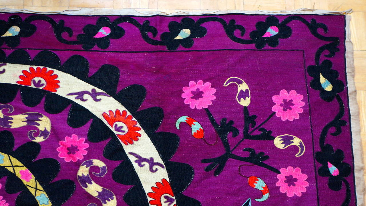 20th Century Vintage Central Asian Suzani, Embroidered Wall Hanging For Sale