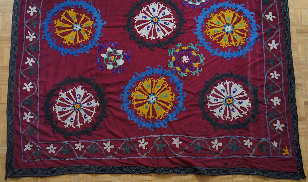Mid-Century Modern Large Vintage Uzbek Suzani Needlework Textile Blanket or Tapestry For Sale
