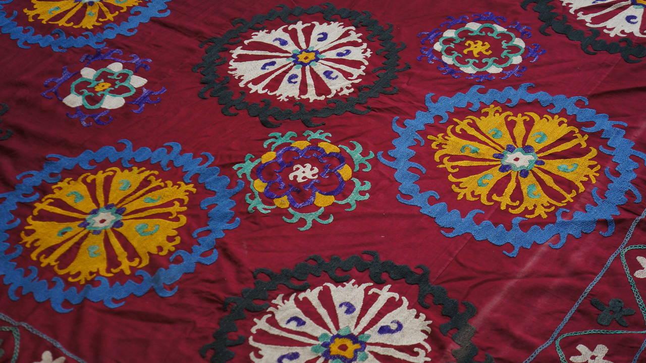 Beaded Large Vintage Uzbek Suzani Needlework Textile Blanket or Tapestry For Sale