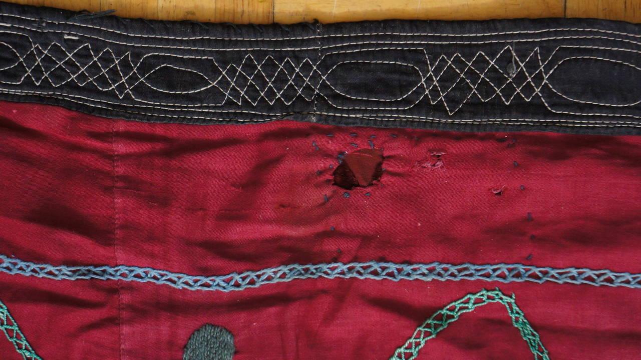 Silk Large Vintage Uzbek Suzani Needlework Textile Blanket or Tapestry For Sale