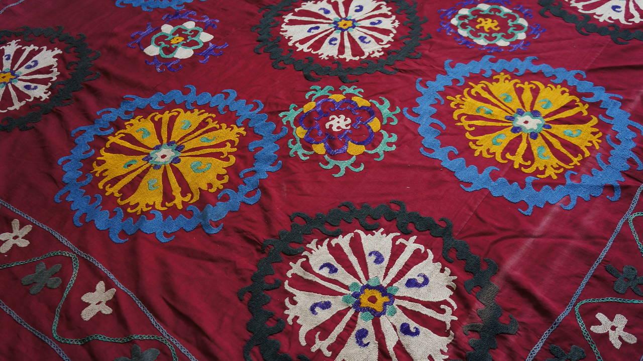 Large Vintage Uzbek Suzani Needlework Textile Blanket or Tapestry For Sale 3