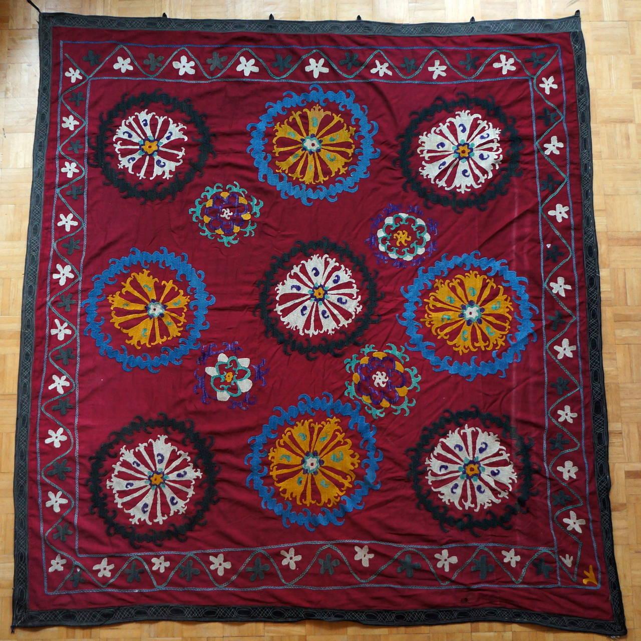 20th Century Large Vintage Uzbek Suzani Needlework Textile Blanket or Tapestry For Sale