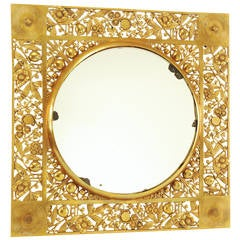 Brass Foliate Filagree Rondell Mirror