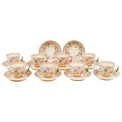 Set of Aesthetic Floral Teacups and Saucers in the Oriental Taste