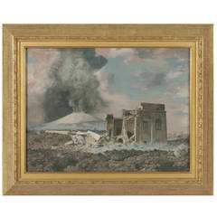 """Ruins in the Wake of Mount Vesuvius,"" Gouache Painting"