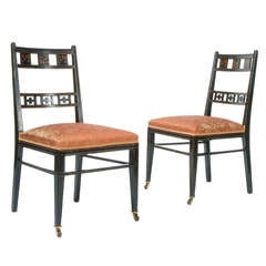 Pair of Anglo-Japanesque Inlaid & Ebonized Side Chairs