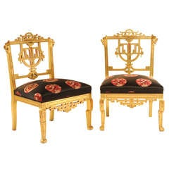 Pair of Chinois Gilded Slipper Chairs