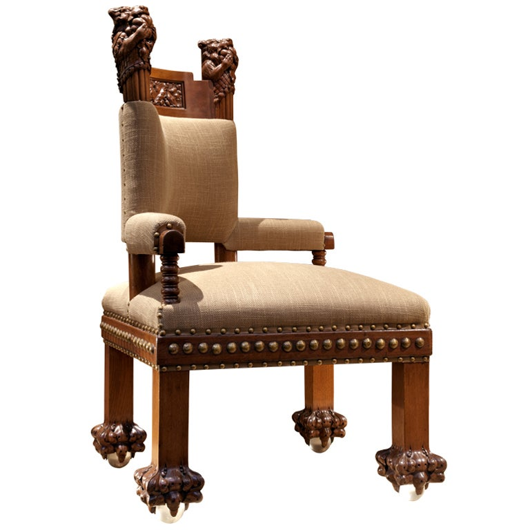 Upholstered Corner Chair With Glass Ball Feet For Sale At 1stdibs