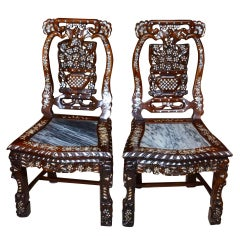 Antique Pair Chinese Side Chairs Inlaid Mother of Pearl