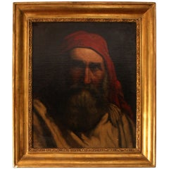 19th Century Painting 'Old Fisherman' A H Cabuzel