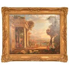 Antique Oil Painting Palladium Ruins 19th Century