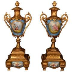 Antique Pair of French Garniture Porcelain Urns c.1880