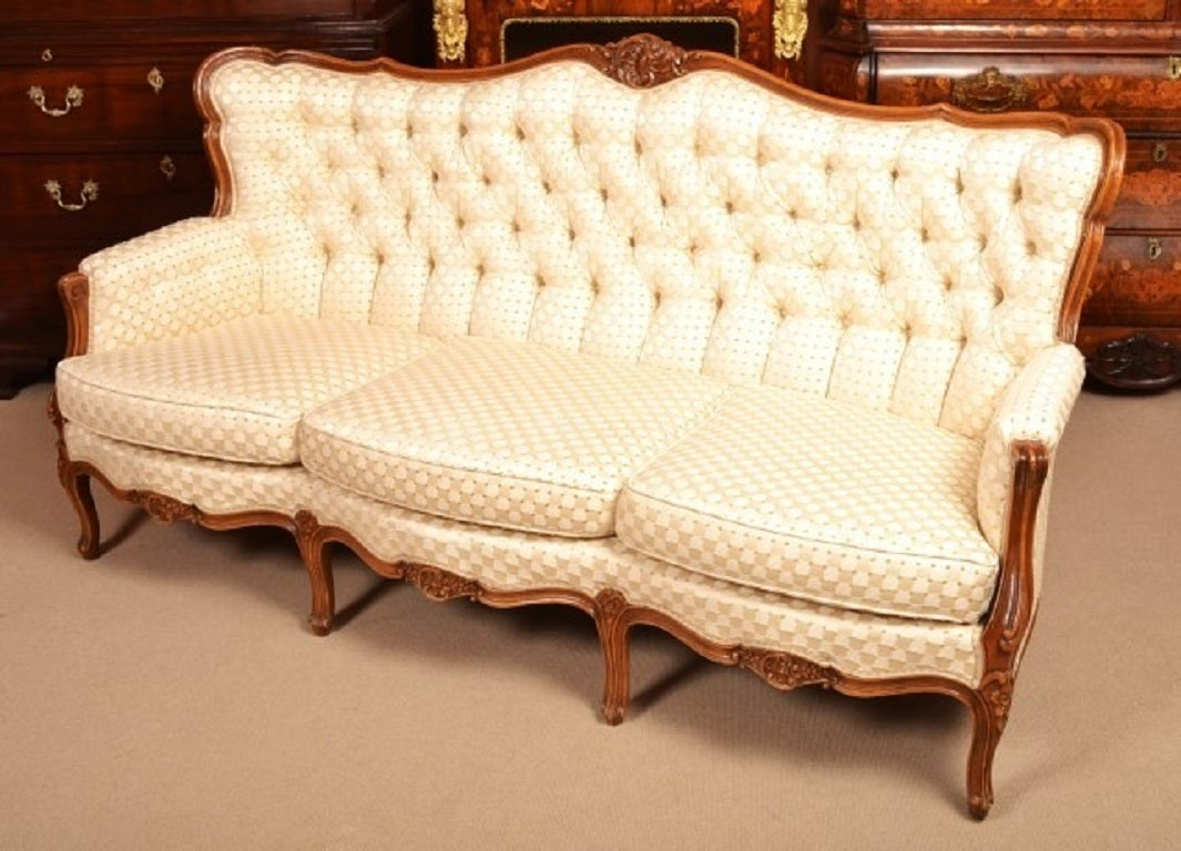 Vintage Walnut Upholstered Sofa by Epstein c 1930 at 1stdibs