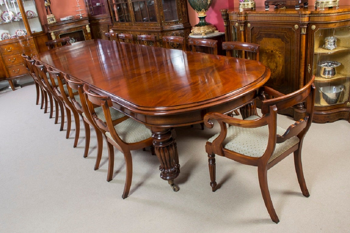 Vintage Victorian Mahogany Dining Table With 14 Chairs 2