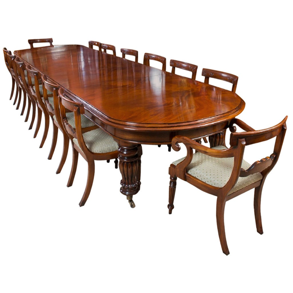 Vintage Victorian Mahogany Dining Table With 14 Chairs 1