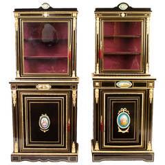 Antique Pair Ebonised Cabinet Sevres Plaques c.1860