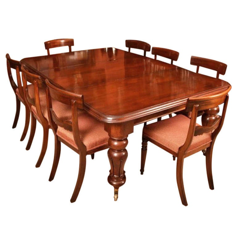 Antique William IV Mahogany Dining Table 8 chairs c.1830 at 1stdibs